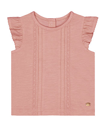 Mothercare Pink Pintuck T-Shirt
