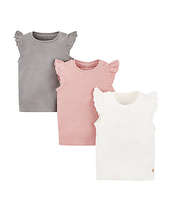 Mothercare Rib Vest Tops - 3 Pack
