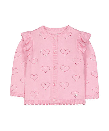 Mothercare Pink Pointelle Heart Cardigan