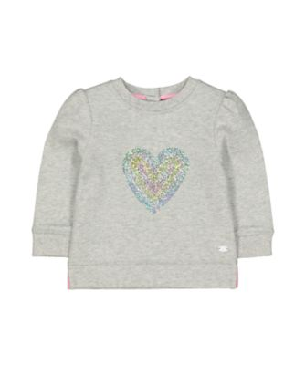 Mothercare Pastel Peace Grey Marl Sparkle Heart Sweat Top