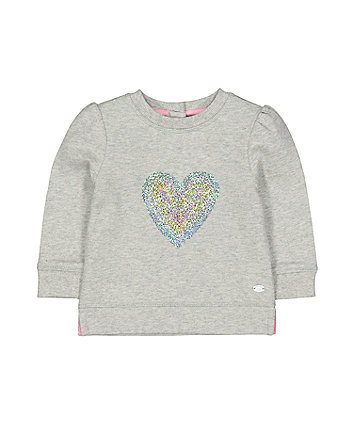 Grey Marl Sparkle Heart Sweat Top