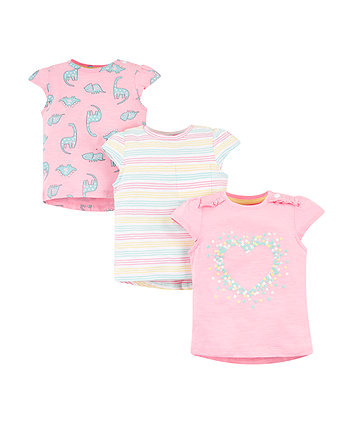 Mothercare Heart And Stripe T-Shirts - 3 Pack