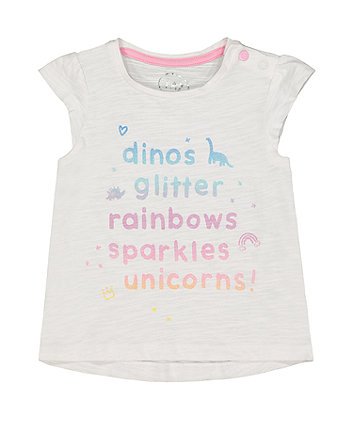 Mothercare White Glitter T-Shirt