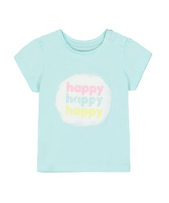 Mothercare Pastel Peace Turquoise Happy Short Sleeve T-Shirt