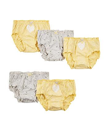 Lemon Yellow Floral Briefs - 5 Pack