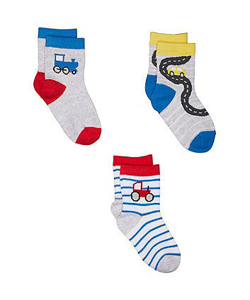 Mothercare Trains And Tractors Socks - 3 Pack
