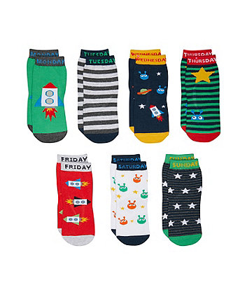 Mothercare Days Of The Week Space Socks - 7 pack