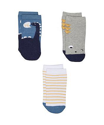 Mothercare Blue Dinosaur Socks - 3 Pack