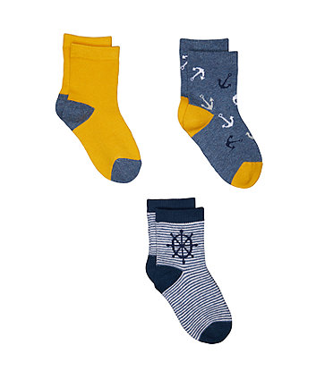Mothercare Nautical Socks - 3 Pack