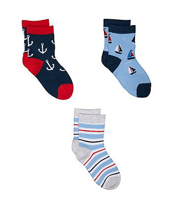 Mothercare Sailing Boat Socks - 3 Pack
