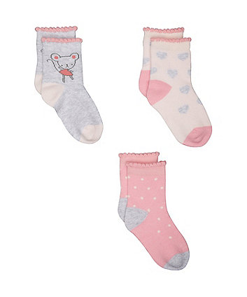 Mothercare Little Mouse Socks - 3 Pack