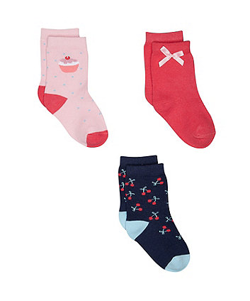 Mothercare Cupcake And Cherry Socks - 3 Pack