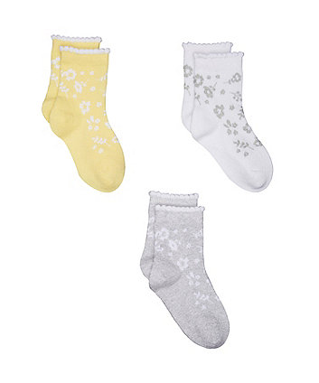 Mothercare Silver Floral Socks - 3 Pack