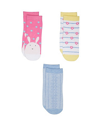 Mothercare Bunny And Flower Socks - 3 Pack