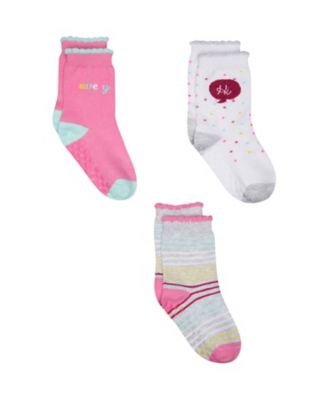 Mothercare Pink Slogan Socks - 3 Pack