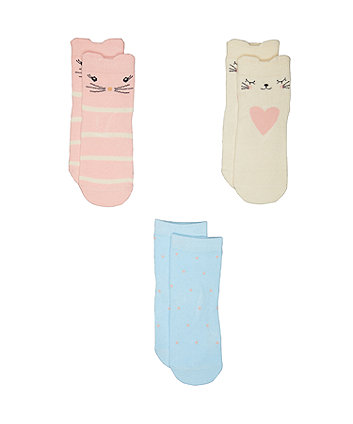Mothercare Novelty Cat Socks - 3 Pack