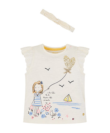 Mothercare Beside The Seaside T-Shirt And Headband Set