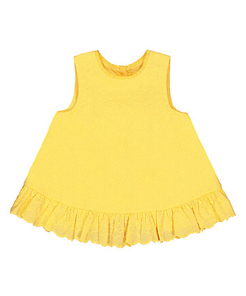 Mothercare Yellow Floral Broderie Frill Blouse