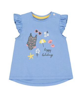 Mothercare Sunny Cove Blue Happy Holidays T-Shirt