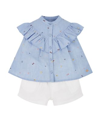 Mothercare Sunny Cove Chambray Blouse And Shorts Set