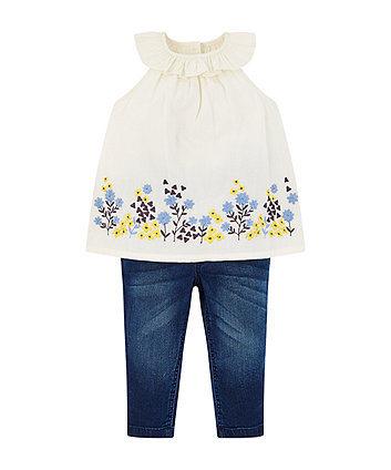 Mothercare White Floral Blouse And Jeggings Set