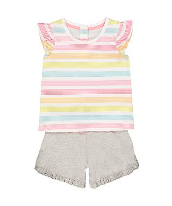 Mothercare Striped Vest And Shorts Set