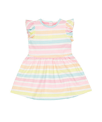 Multicolour Stripe Waisted Dress