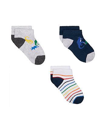 Mothercare Dinosaur Trainer Socks - 3 Pack