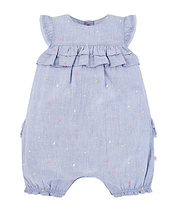 Mothercare Chambray Spot Romper