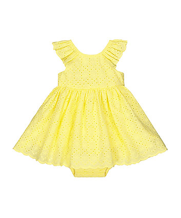 Mothercare Yellow Broderie Dress And Knickers Set