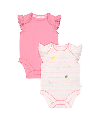 Mothercare Stripe Butterfly And Pink Bodysuits – 2 Pack