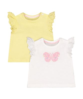 Mothercare Summer Pop Butterfly And Yellow Frill T-Shirts - 2 Pack