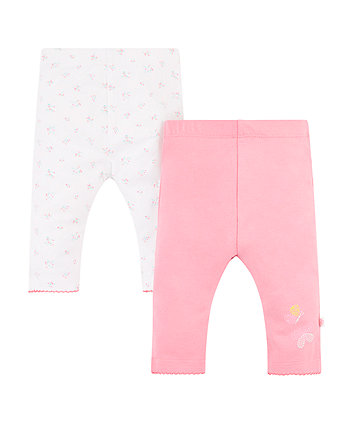 Mothercare White Floral And Pink Leggings - 2 Pack