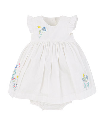 Mothercare White Embroidered Dress And Knickers Set