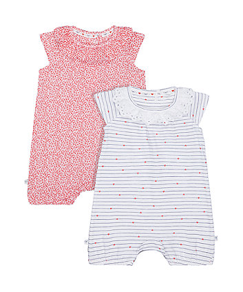 Mothercare Stripe And Floral Frill Rompers - 2 Pack