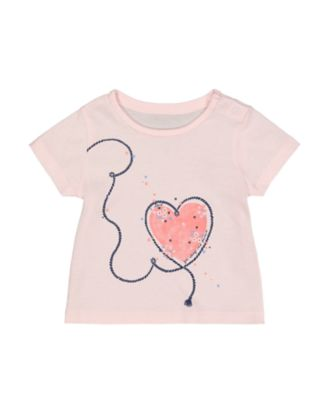 Mothercare Girls Seaside Pink Heart T-Shirt