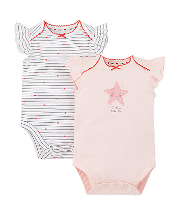 Mothercare Daddy'S Little Star And Heart Bodysuits - 2 Pack