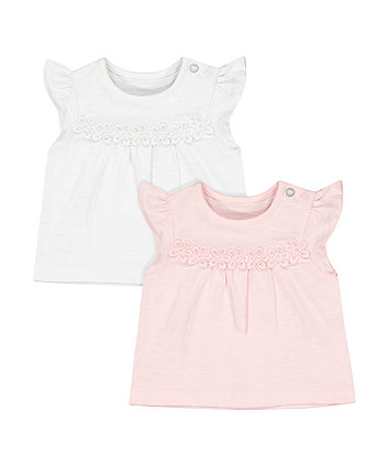 Mothercare White And Pink Floral T-Shirts - 2 Pack