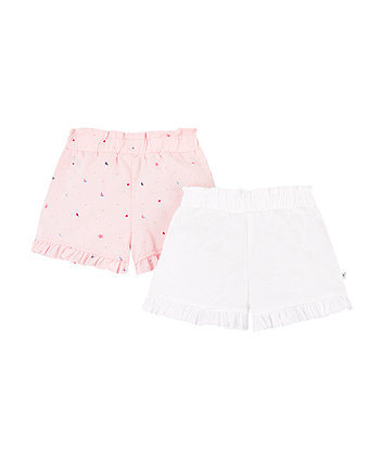 White And Pink Seaside Frill Shorts - 2 Pack