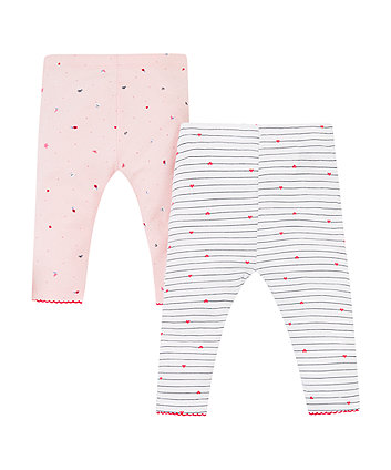 Pink Seaside And Stripe Leggings - 2 Pack