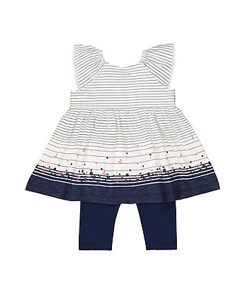 Mothercare Stripe Floral Dress And Navy Leggings Set