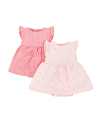 Mothercare Floral And Seaside Romper Dresses - 2 Pack