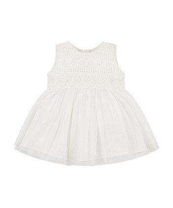 Mothercare White Dobby Mesh Dress