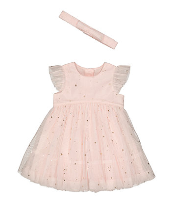Mothercare Foil Star Mesh Dress And Headband Set