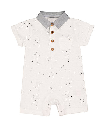 Mothercare White Glitter Star Collared Romper