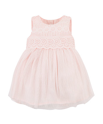 Mothercare Pink Dobby Mesh Dress