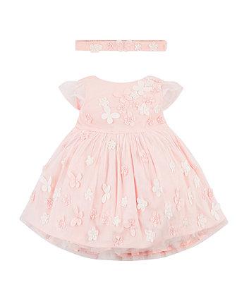 Mothercare Pink 3D Flower Mesh Dress And Headband Set