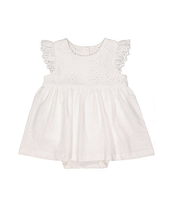 Mothercare White Broderie Romper Dress