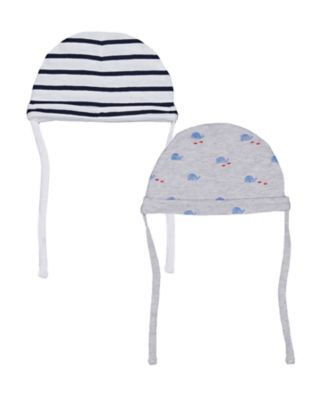 Mothercare Whale Bay Stripe And Whale Hats � 2 Pack