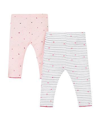 Mothercare Pink Seaside And Stripe Leggings – 2 Pack